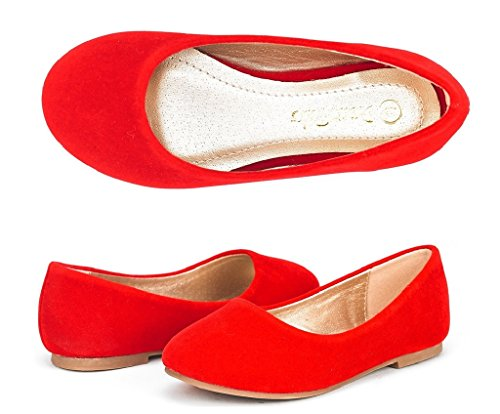 DREAM PAIRS Little Kid Muy Red Suede Girl's Mary Jane Ballerina Flat Shoes - 2 M US Little Kid