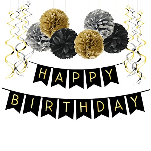 Famoby Black Happy Birthday Banner Pom Poms Streamers for Party Decorations -