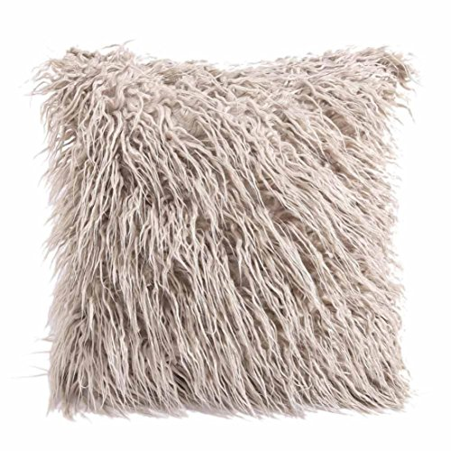 Sunward 18-Inch Mongolian Faux Fur Pillow, Natural Home Decor (Khaki)