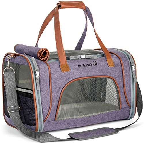 Mr. Peanuts Airline Approved Soft Sided Pet Carrier, Low Profile Travel Tote with Premium Zippers & Safety Clasps, Under Seat Compatibility, Plush Faux Fleece Bedding with a Sturdy Plywood Base