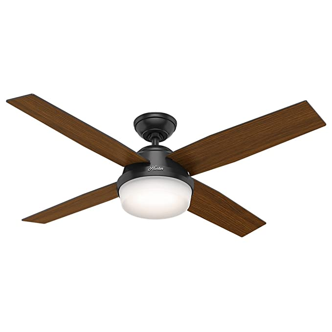 Hunter Fan Company 59251 Contemporary Dempsey Damp Matte Black Ceiling With Light Remote 52 Com