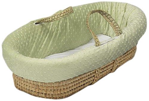 Baby Doll Bedding  Heavenly Soft Doll Moses Basket Set, Sage (Wicker Basket Bassinet)