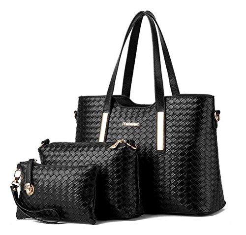 Womens 2 size Crocodile Grain Leather Handbag Shoulder bag (Black) - 6