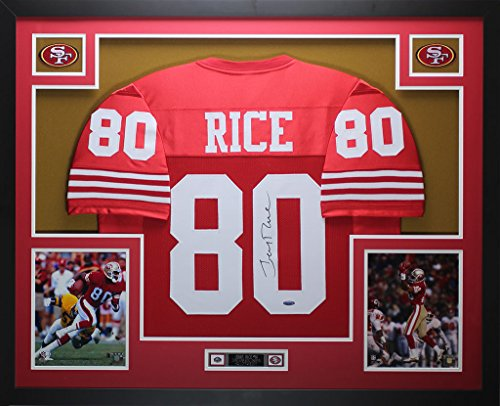 - Jerry Rice Autographed Red 49ers Jersey - Beautifully Matted and Framed - Hand Signed By Jerry Rice and Certified Authentic by Auto Tristar COA - Includes Certificate of Authenticity