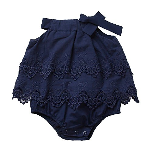 Colorful Childhood Newborn Baby Romper Girls Jumpsuit Infant Bodysuit Tutu Lace Dress Clothes Outfit Ink Size 12-18 Months ()