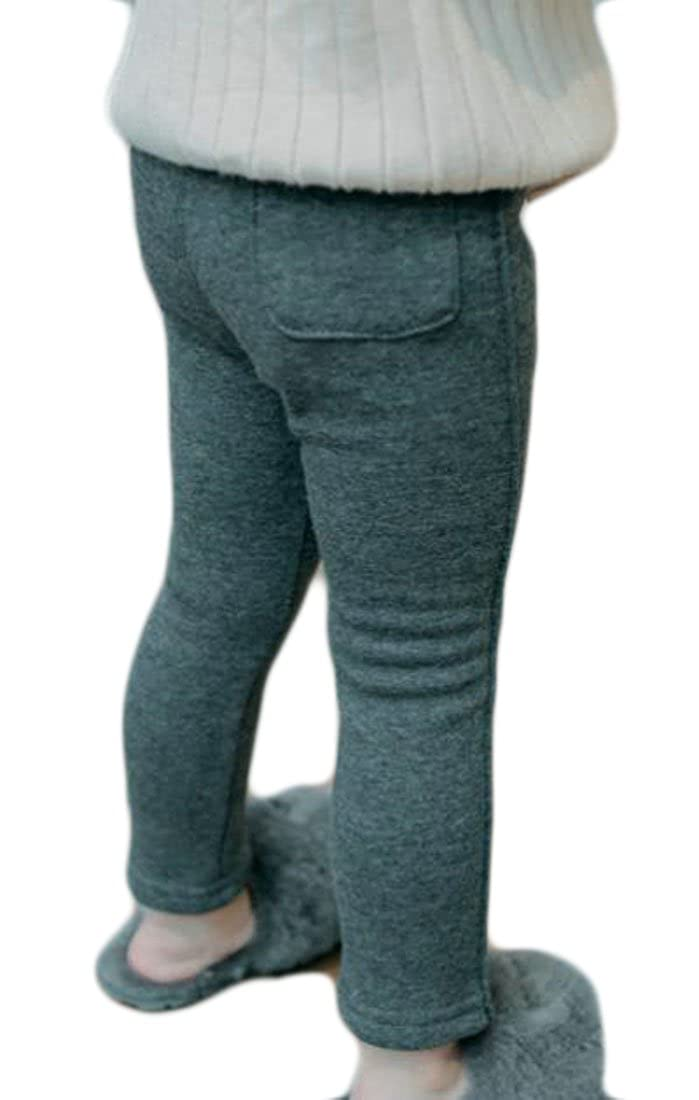 Fulok Girls Fleece Lined Thicken Pocket Stretch Full Length Jogger Pant Dark Grey 6T