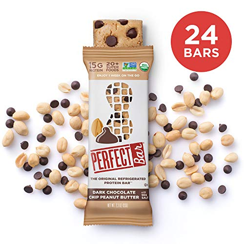 Perfect Bar Original Refrigerated Protein Bar, Dark Chocolate Chip Peanut Butter, 15g Whole Food Protein, Gluten Free, Organic and Non-GMO, 2.3 Oz. Bar (24 Bars) ()