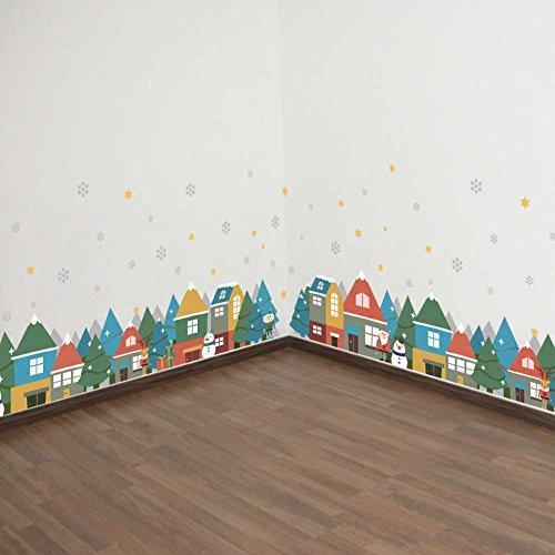 BIBITIME Skirting Border Vinyl Decal Christmas Village House Snowflake Snowman Santa Claus Wall Stickers for Living Room Baseboard Decor Kids Room Nursery Art (Christmas Kids Borders)