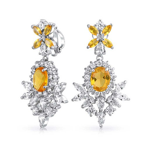 Deco Style Canary Yellow Cubic Zirconia CZ Fashion Prom Pageant Statement Dangle Clip On Earrings Silver Plated Brass