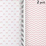 Cuddly Cubs Baby Crib Mattress Sheets Set | 2 Pack Crib Fitted Sheet for Boys, Girls, Toddler | Unisex Jersey Knit Cotton Babies Sheets for Crib | Bows and Chevron in Grey, White, Pink
