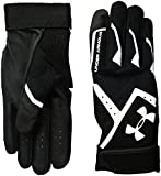 Under Armour Boys' Clean-Up VI Batting Gloves, Black/Black, Youth Small