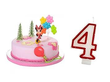 Tortendeko 4 Geburtstag Minnie Mouse 5 Teiligtortenaufleger
