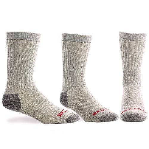 Ballston 83% Wool Heavyweight Expedition Weight Trekking Sock (3 Pairs) (XXL (Fits Men's Shoe 16-20), Lunar Gray)