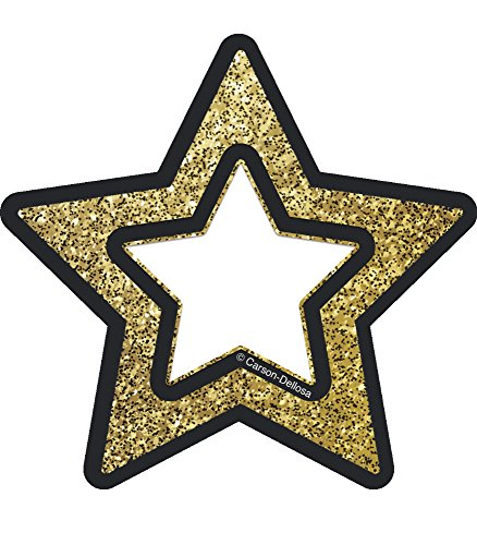 (Carson Dellosa Decorative Sparkle and Shine Gold Glitter Stars Cut-Outs (120245))