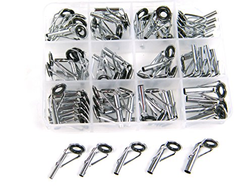 Rod Tip Kit (New! 60 Pcs in Bigger Saltwater 1.6-4.0 Box Ceramic Ring Fishing Rod Parts Tip Tops Stainless Repair Guides DIY Set Kits)
