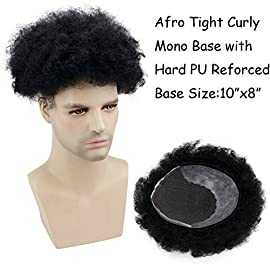 Rossy&Nancy African American Wigs Mono Base with Hard PU Reforced Afro Tight Curly Human Hair Toupee #1 Jet Black 10x8inch
