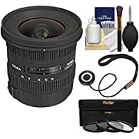 Sigma 10-20mm f/3.5 EX DC HSM Zoom Lens with 3 Filters Kit for Canon EOS 7D, 77D, 80D, Rebel T5, T5i, T6, T6i, T6s, T7i, SL1 Cameras
