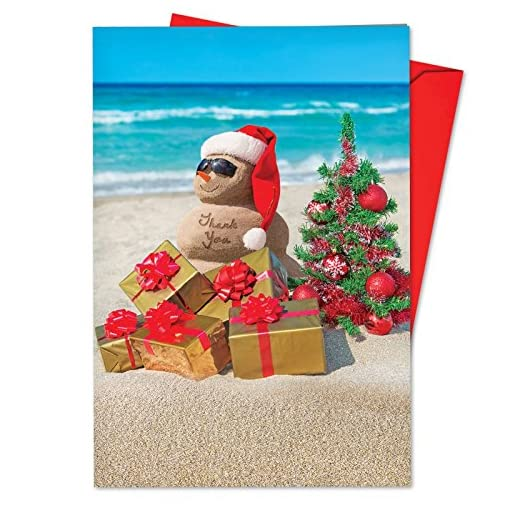 12 Season S Beachin Thank You Blank Boxed Christmas Cards With Envelopes 4 63 X 6 75 Inch Beachy Holiday Greeting Cards Tropical Cards Island