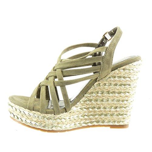 Correa Tanga Plataforma 11 Verde 5 Zapatillas Angkorly Sandalias Mujer Talón Moda Plataforma cm Multi Alpargatas 8wBYq