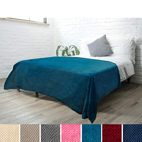 PAVILIA Premium Flannel Fleece Bed Throw Blanket for Sofa Couch | Sea Blue Waffle Textured Soft Fuzzy Blanket | Warm Cozy Microfiber Plush | Twin Size 60 x 80 | Lightweight, All Season (Waffle Blue Colored)