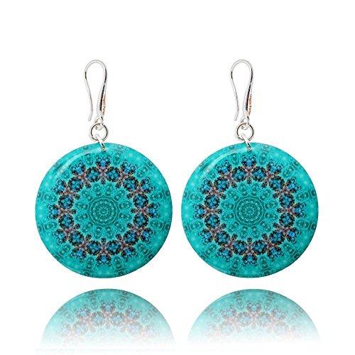 (Turquoise Blue Drop Earrings Mandala Resort for Woman By Dragon Porter)