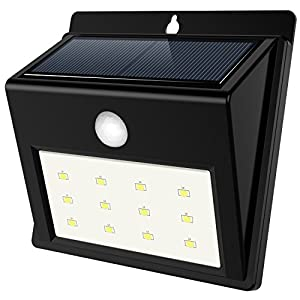 QPAU Solar Lights Outdoor Step Lights 12 LED Motion Sensor Lights Wireless Waterproof for Patio/Yard/Garden/Path/Home/Driveway/Stairs, 3 Intelligent Modes