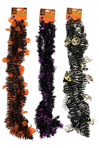 FLOMO Pack of 3 Festive Halloween Silver Skulls Orange Pumpkins and Purple Spiders Decorative Holiday Garland Tinsel Decor ()