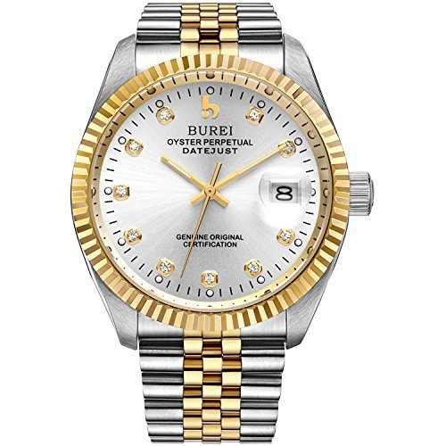 BUREI Men Automatic Mechanical Wrist Watches with Gold-Tone Stainless Steel Bracelet