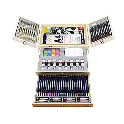 Professional Art Set,Art Supplies in Portable Wooden Case,83 Piece Deluxe Art Set for Painting & Drawing,Art Kit for Kids,Teens and Adults/Gift