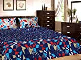 Trident Everyday 100% Cotton 3 pieces Queen Bedspread Coverlet Sheet with Pillowcase Set - Blue,Purple & Red