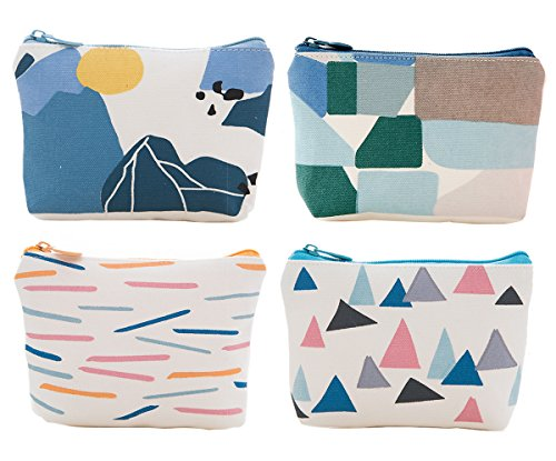 Small Zippered - iSuperb Pack of 4 Canvas Coin Purse Change Cash Bag Zipper Small Purse Wallets (Geometric Pattern)
