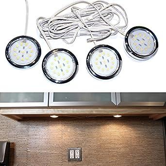 4 er-Set LED-Puck Sockel Beleuchtung/Leuchten/Unterschrank ...