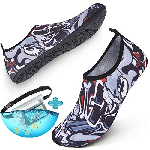 Centipede Demon Mens Water Shoes Barefoot Beach Quick Dry for Swim Surf with Waterproof Pouch Waist Strap