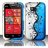 Bundle Accessory for Verizon Nokia Lumia 822 - Blue Vine Designer Hard Case Protective Cover + Lf Stylus Pen + Lf Screen Wiper