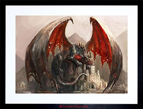 Pictures Dragon Wings - The Art Stop Painting Illustration Fantasy Dragon Castle Wings Framed Print F97X4727