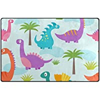 Vantaso Nursery Area Rugs Soft Foam Cute Dinosaur Purple Play Mats for Kids Playing Room Living Room Door Mat 60x39 inch