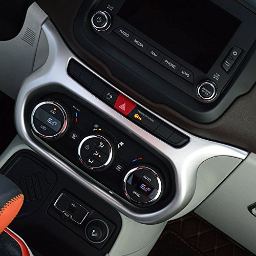 UltaPlay Car Dashboard AC Switch Panel Console Chrome Cover Trim Frame For Jeep Renegade 2017 Car Interior Accessories Styling