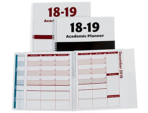 Family Planner Books - 2018-2019 Academic Planner, A Tool for Time Management, Best Weekly & Monthly Student Planner for Keeping Students On Track, On Task, On Time, Size 8.5x8.25, Black, Family Choice Award Winner