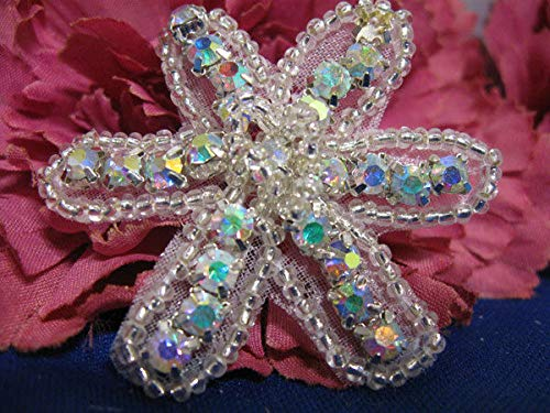 Aurora Borealis Rhinestone Flower Beaded Applique KE-605