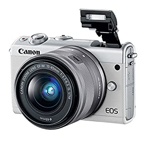 Canon EOS M100 Mirrorless Digital Camera (White) + EF-M 15-45mm f/3.5-6.3 is STM Lens (Graphite) + 32GB Memory Card…