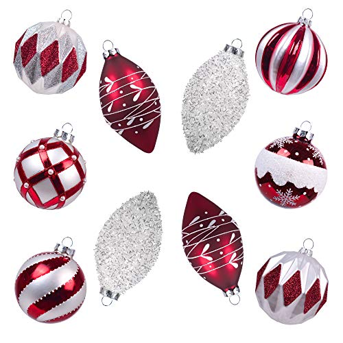 Teresas Collection 10ct Traditional Glass Blown Christmas Ball Ornaments Red and White,3.15inch-4.72inch,Themed with Tree Skirt(Not Included)