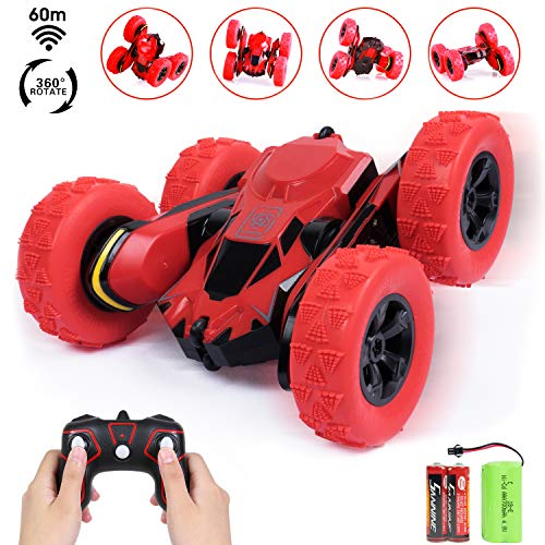SGILE Stunt RC Car Toy, Remote Control Vehicle Double Sided 360 Degree Rolling Rotating Rotation for Boys Kids Girls,Red