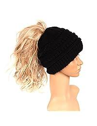 Yeahii Womens Ponytail Cap Warm Beanie Knitted Hat Messy High Bun Ponytail Beanie Hat