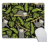 Smooffly Gaming Mouse Pad Custom,Cute Sloths and Tropical Palm Leaves Mousepad Non-Slip Rubber Rectangle Mouse Pads for Computers Laptop
