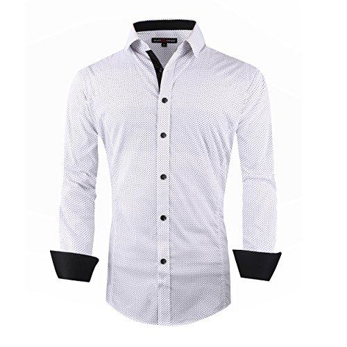 Alex Vando Mens Casual Button Down Shirts Long Sleeve Print Men Shirt (Polka White,Large) (Wide Shirt Cuff)