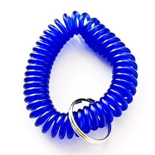 [100pcs Blue Color Soft High Quality Spring Spiral Coil Elastic Wrist Band Key Ring Chain] (Wrist Coil Key Ring)