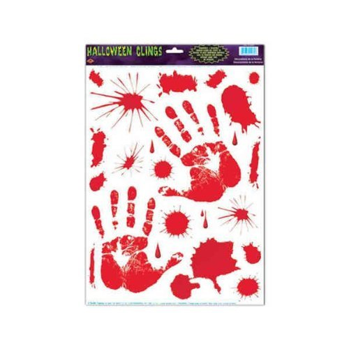 - Halloween Bloody Hand Cling Decorations Pkg/12