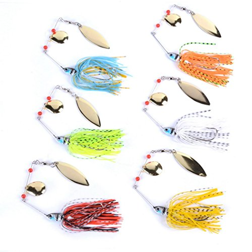 Aorace 6pcs/lot 14g 6colors Spinnerbait lures Spirit Spinner Bait LuresFishing Lures Fishing Hard Bait Blades Hooks Metal Spoons buzzbait