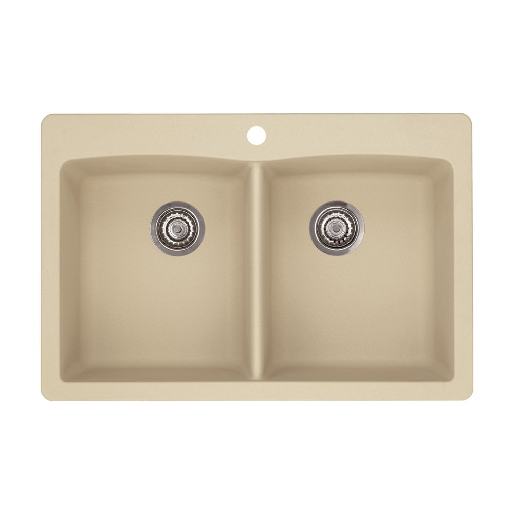 Blanco 441217 Diamond Double-Basin Drop-In Granite Kitchen Sink ...