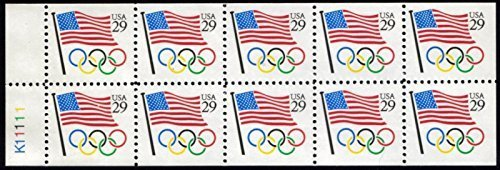 1991 Flag & Olympic Rings Booklet Pane of 10 x 29 Cent Stamps Scott 2528a by USPS
